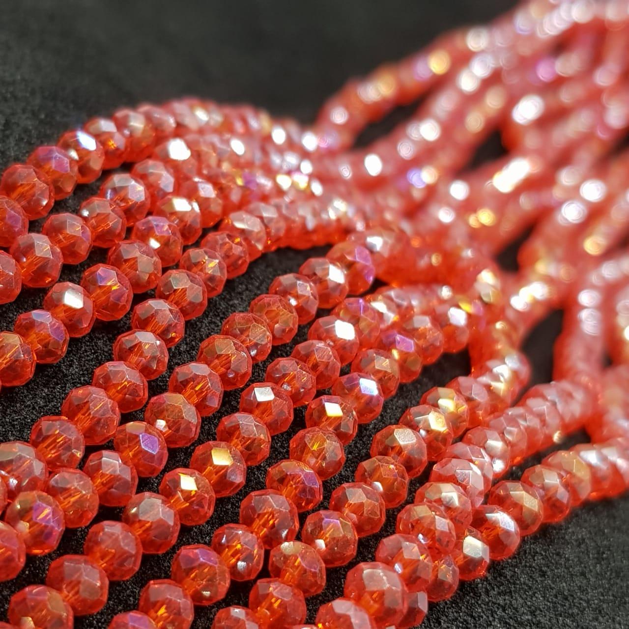 Fio de cristal chinês vermelho 4mm lustroso