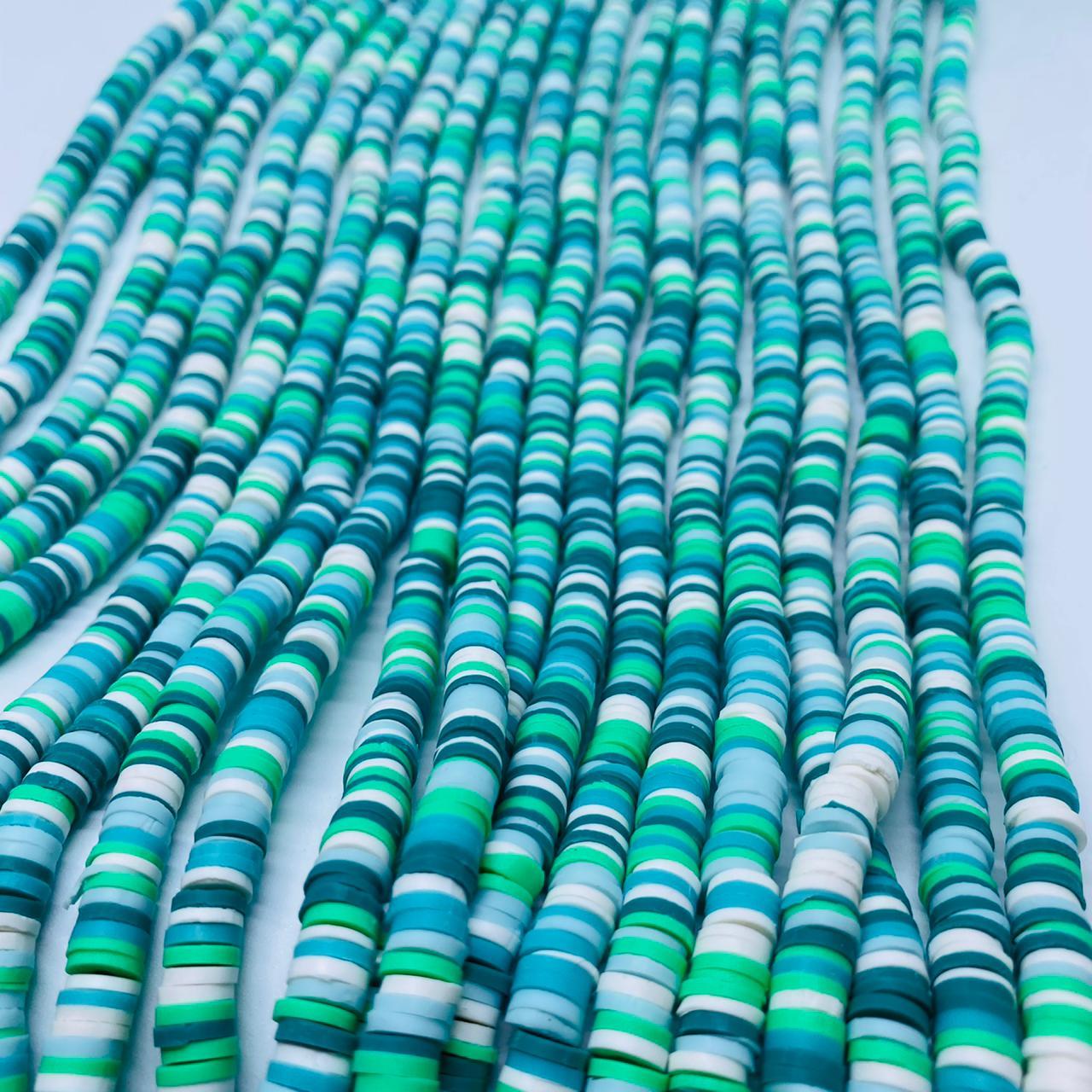 Fio de fimo verde água com branco 6mm