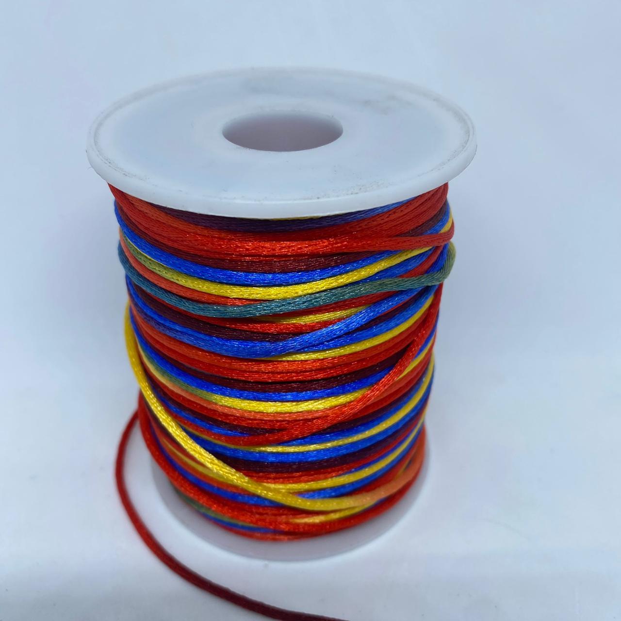 Fio de seda multicolorido (azul, amarelo, vermelho, verde )  c/ 10 metros 1.5mm