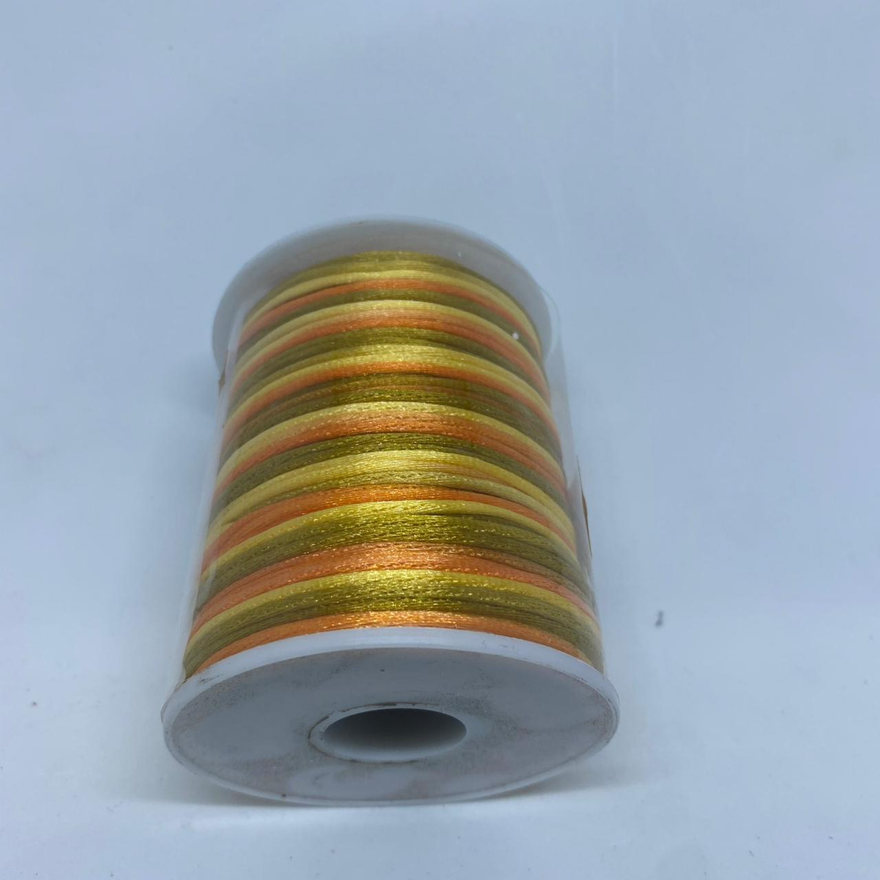 Fio de seda multicolorido (laranja, dourado , verde musgo)  c/ 10 metros 1.5mm