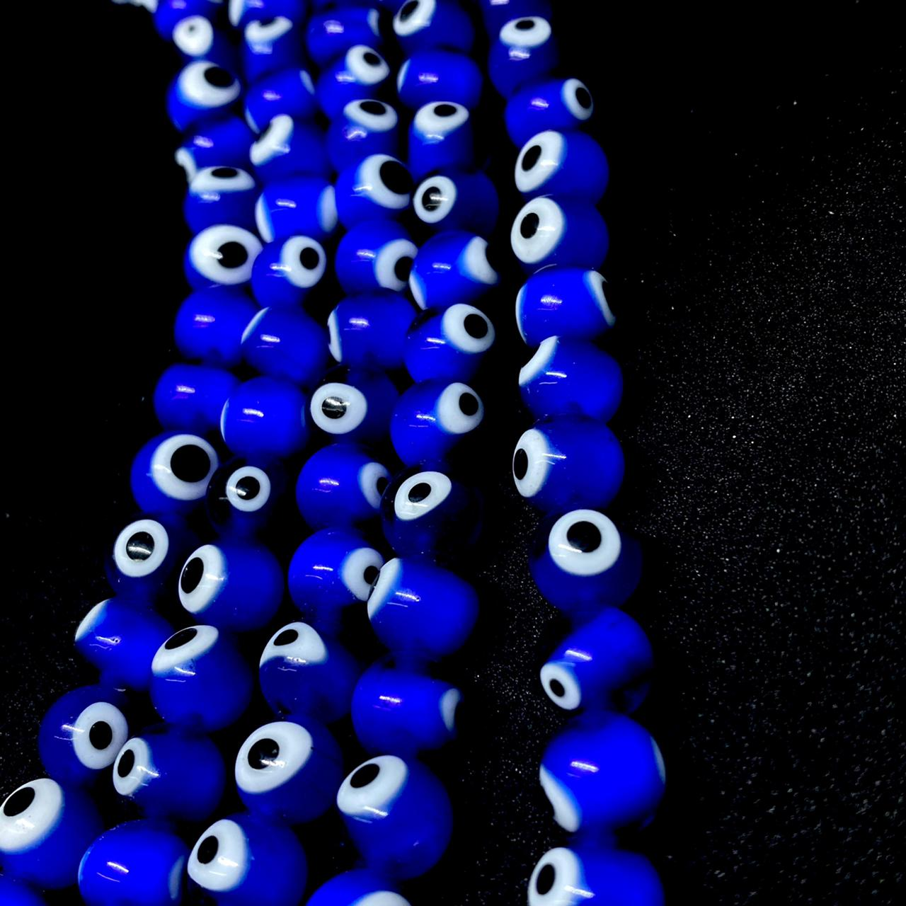 Fio olho grego redondo azul escuro 8mm