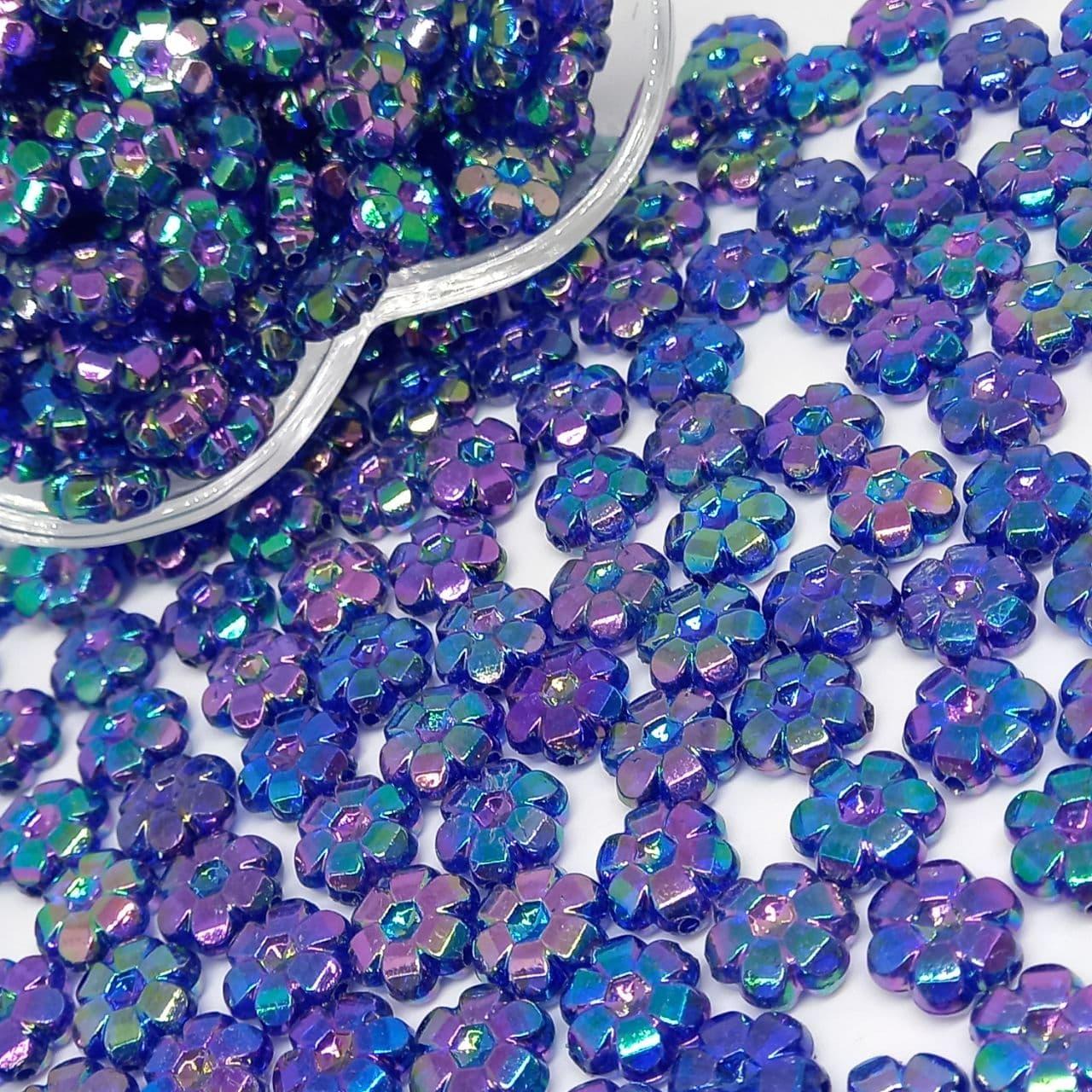 Flor transparente azul escuro irisado 25g - 10mm