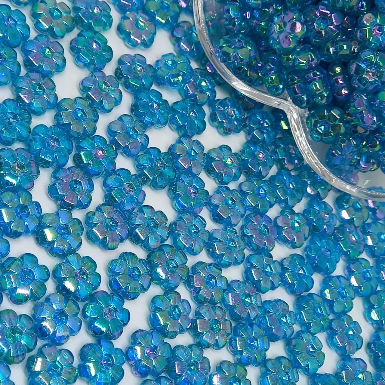 Flor transparente azul irisado 25g - 10mm