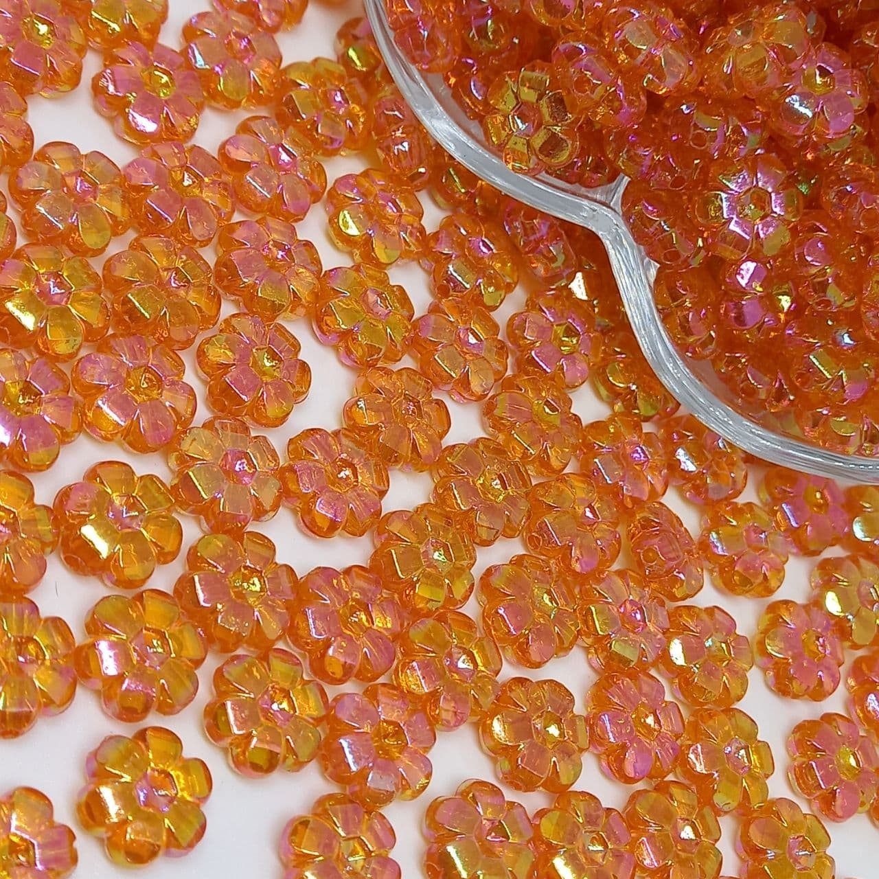 Flor transparente laranja escuro irisado 25g - 10mm