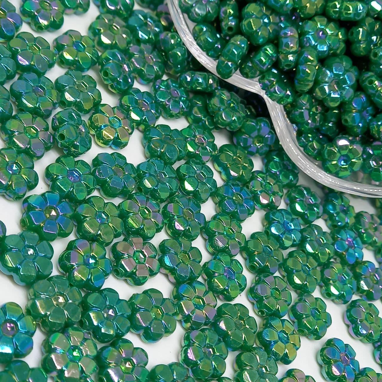 Flor verde escuro irisado 25g - 10mm