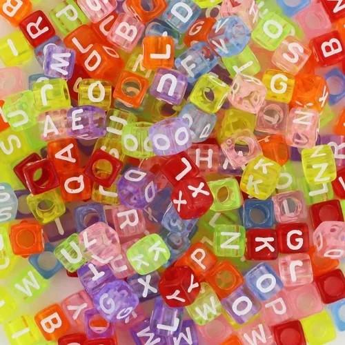 Miçanga Cubo de Letras - Multicolorido Neon 25g  - Palácio Dos Cristais