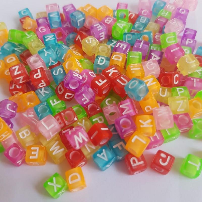 Miçanga Cubo de Letras - Neon 25g  - Palácio Dos Cristais