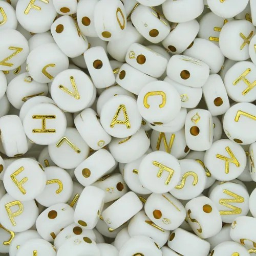 Miçanga de letra branca e dourada  6mm 25 gramas  - Palácio Dos Cristais