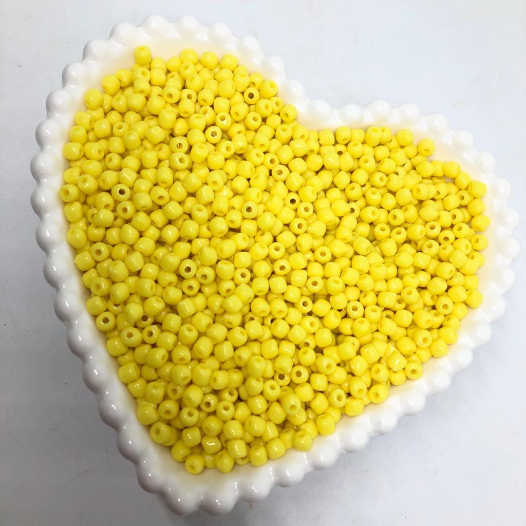 Miçanga de plástico amarelo 4.5 - 25g  - Palácio Dos Cristais