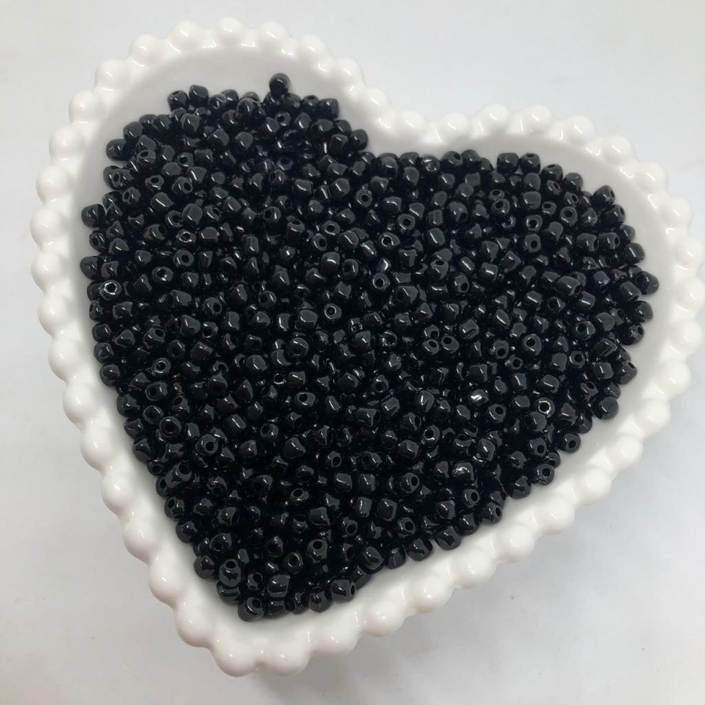 Miçanga de plástico preta 4.5 - 25g  - Palácio Dos Cristais