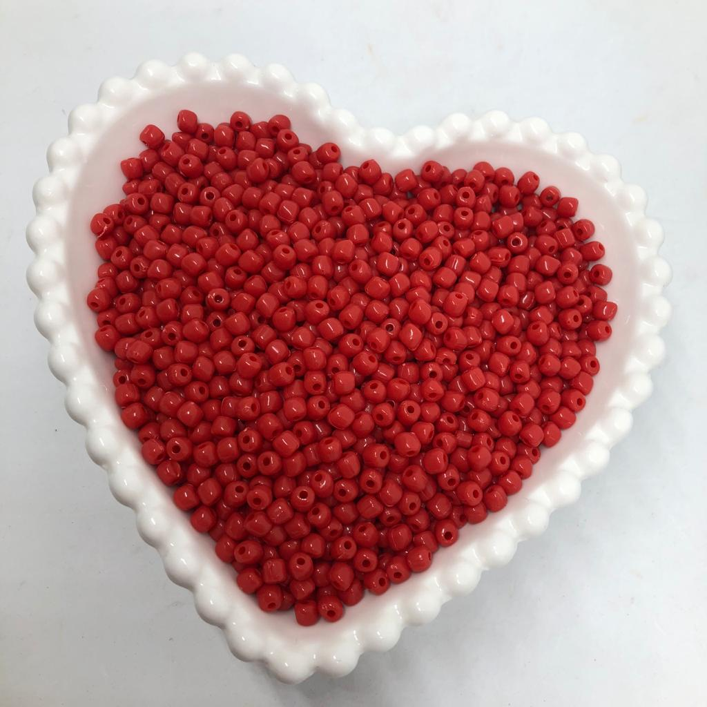 Miçanga de plástico vermelho 4.5 - 25g  - Palácio Dos Cristais