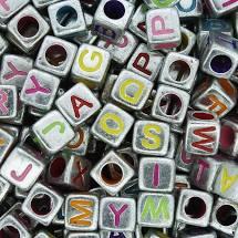 Miçanga - Letras Cubo Prateada Colors 25g  - Palácio Dos Cristais