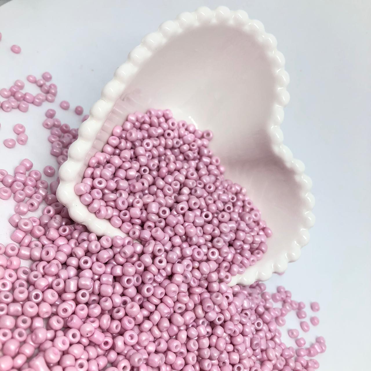 Miçangão rosa bebê 4.1mm (6/0) 25g  - Palácio Dos Cristais