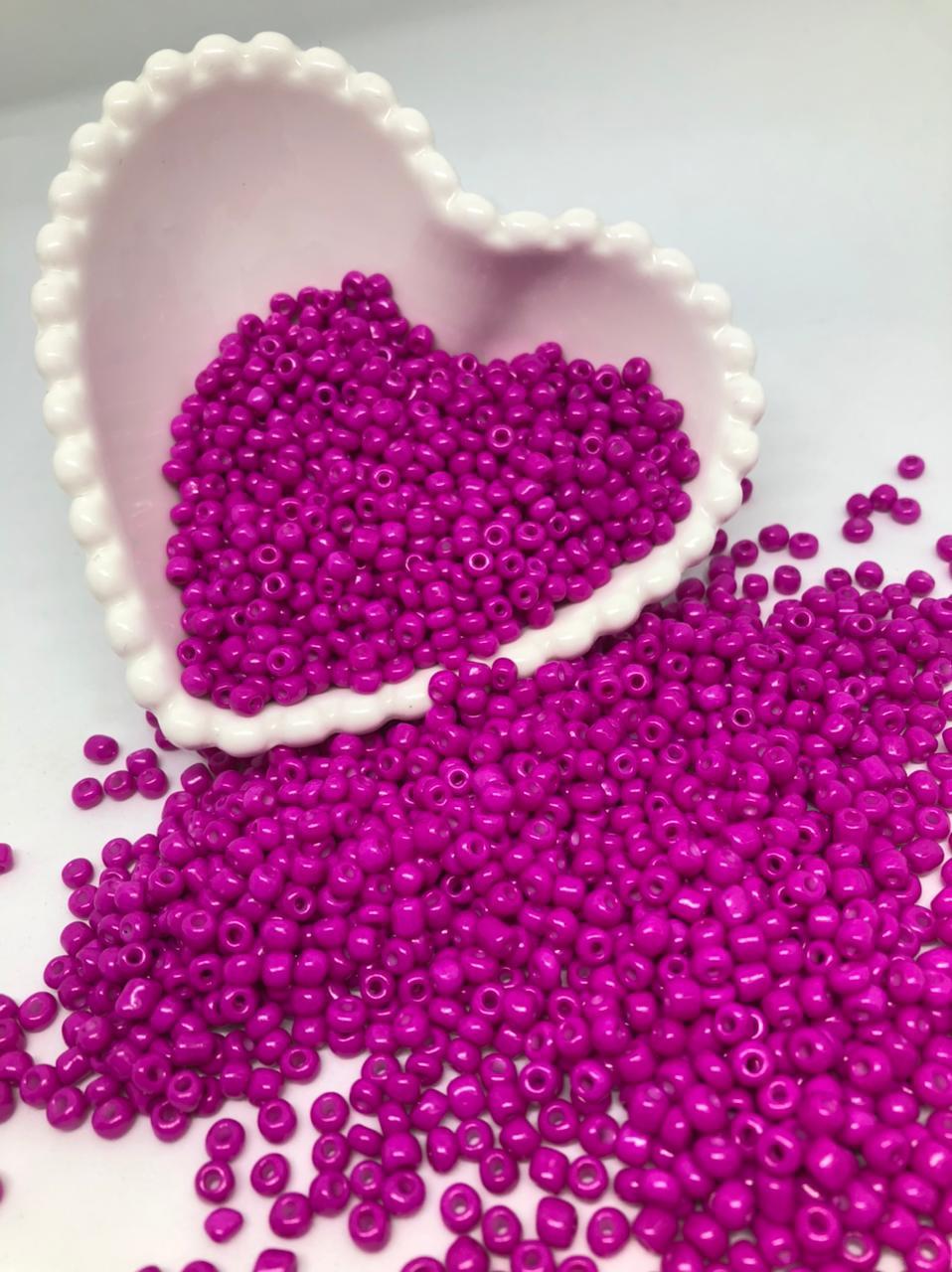 Miçangão rosa fuchsia  4.1mm (6/0) 25g  - Palácio Dos Cristais