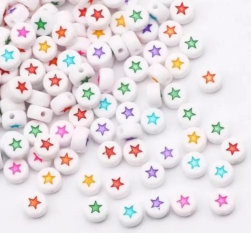 Miçangas Infantil - Estrela Coloridas 4mm 25g