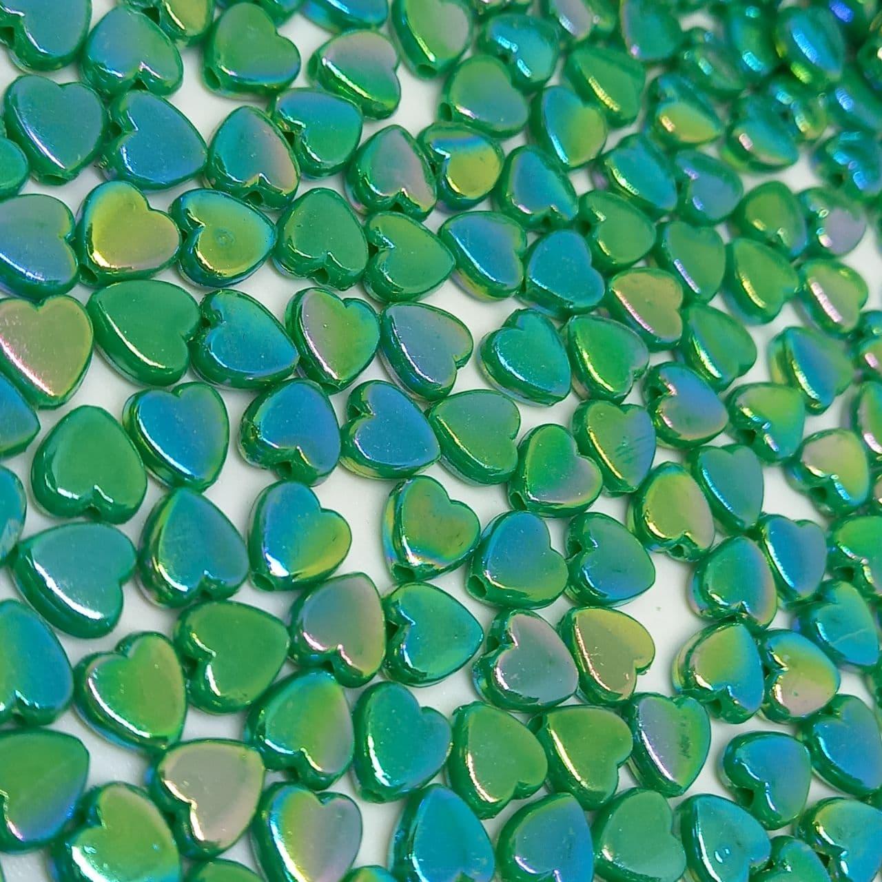 Mini coração verde escuro irisado 25g - 6mm