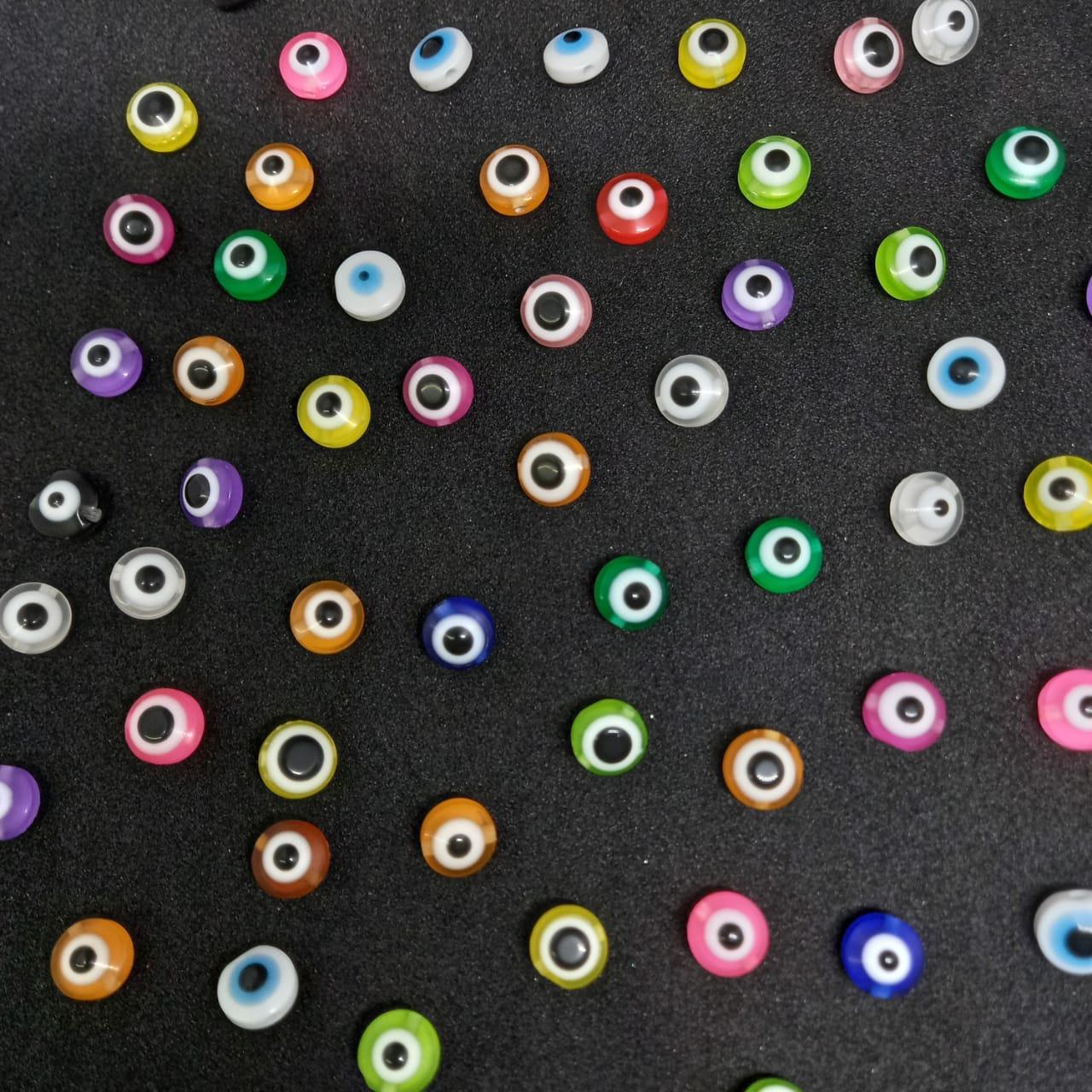 Olho grego achatado colorido 10mm