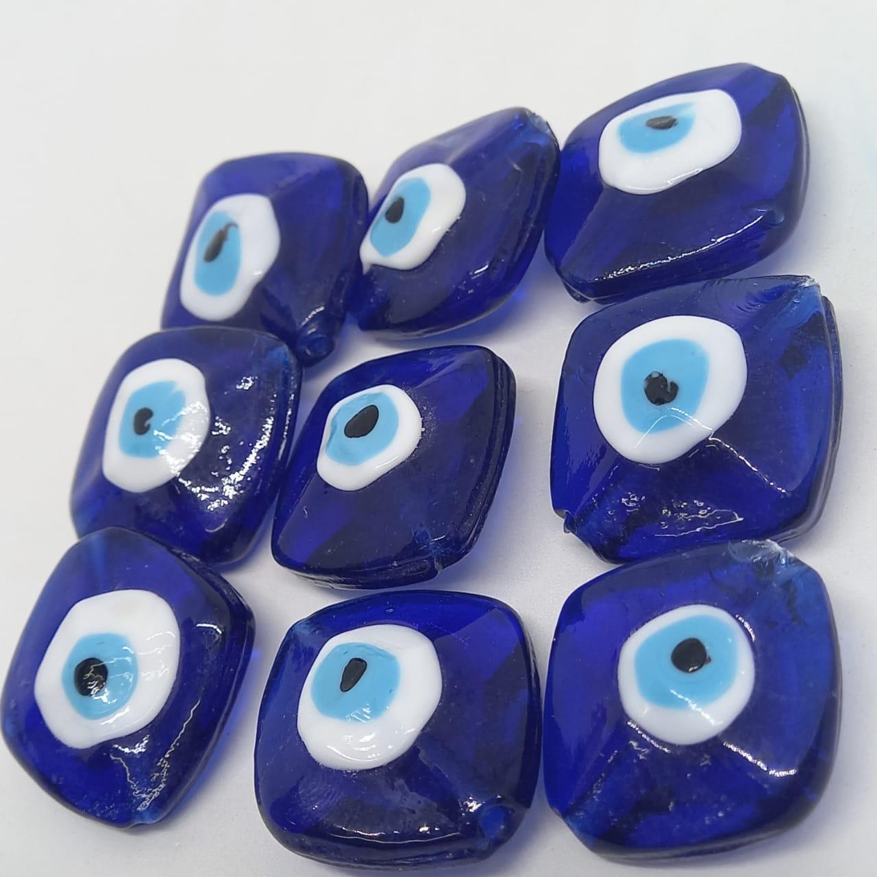Olho grego losango  azul caneta com branco 28mm/unidade