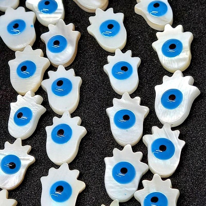 Olho grego madrepérola azul claro  15x10 mm / unidade