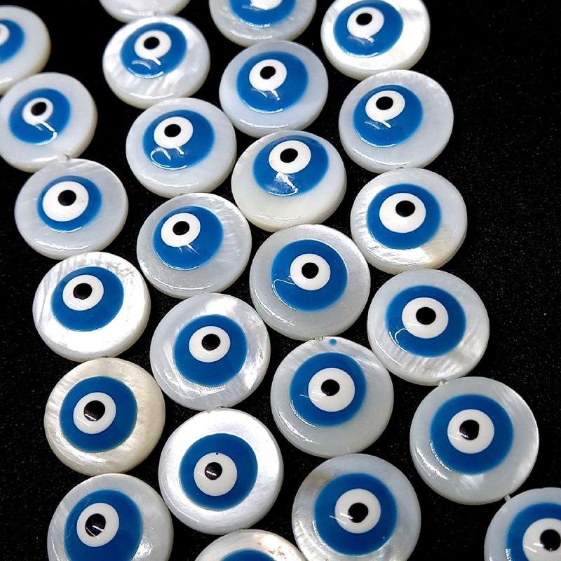 Olho grego madrepérola azul claro  redondo 11 mm / unidade