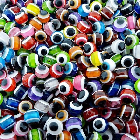 Olho grego redondo colorido 08mm - 10 unidades