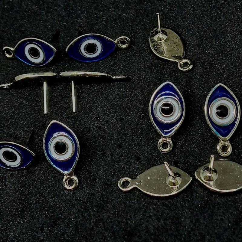 Pino para brinco prata olho grego azul escuro  c/ branco 20x10mm