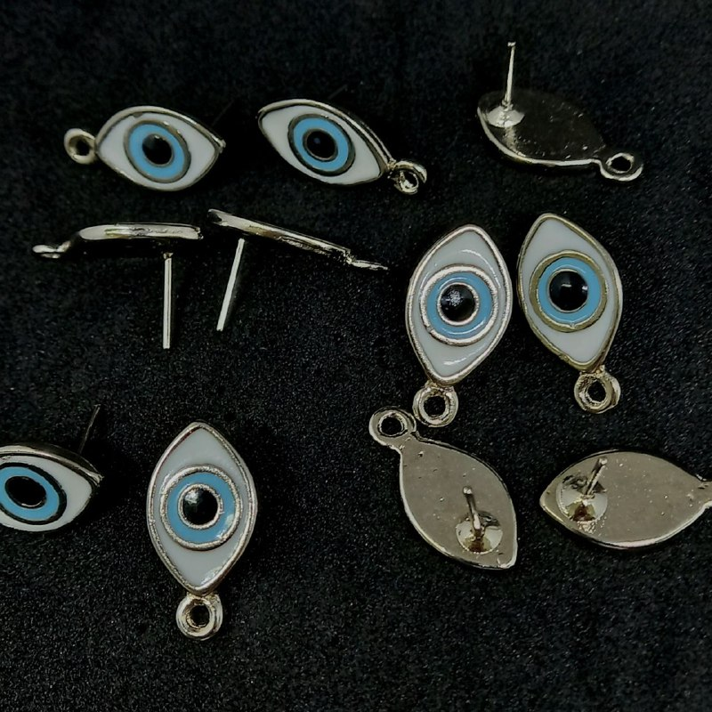 Pino  para brinco prata  olho grego branco  c/ azul claro 20x10mm