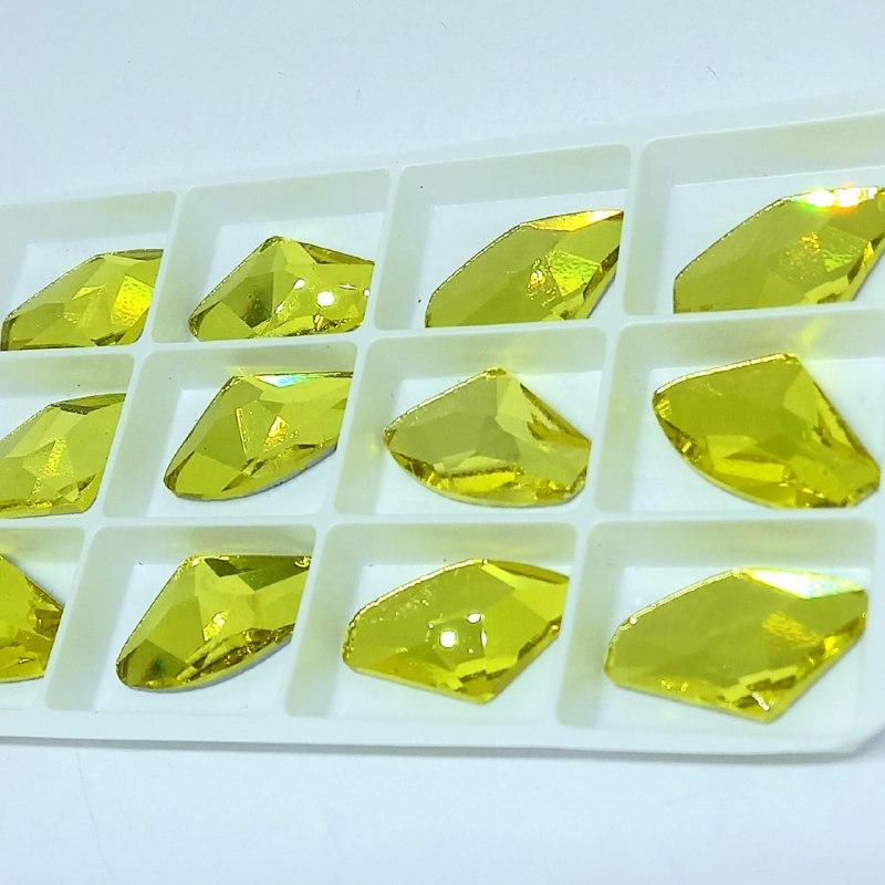 Pedra de vidro galac Citrini 16.5X27mm/ unidade