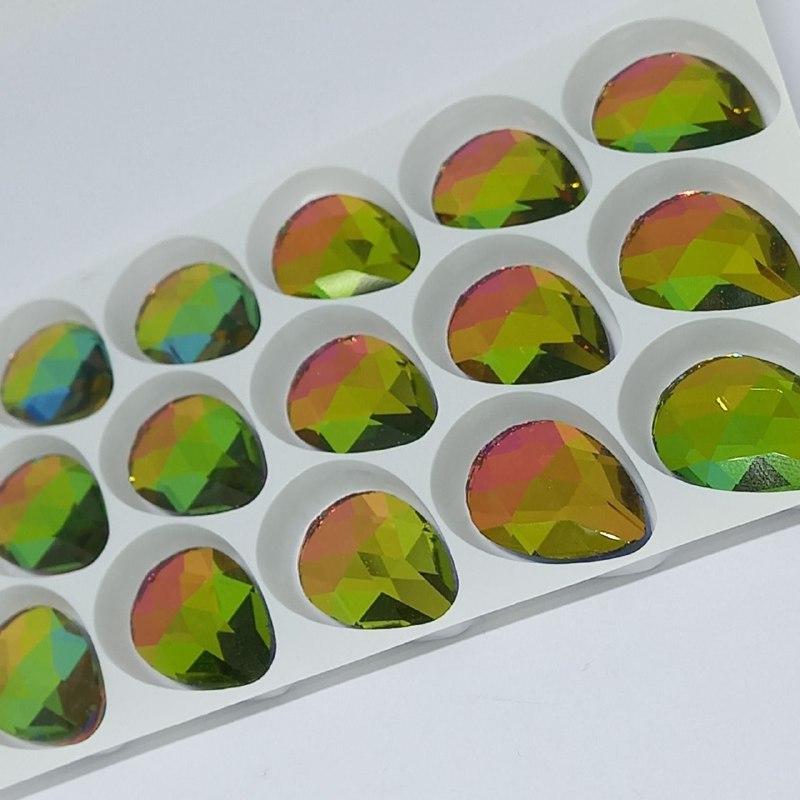 Pedra de vidro gota Rainbown 16x25/ unidade