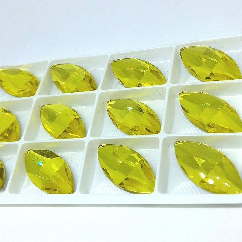 Pedra de vidro navete Citrini 15x32/ unidade
