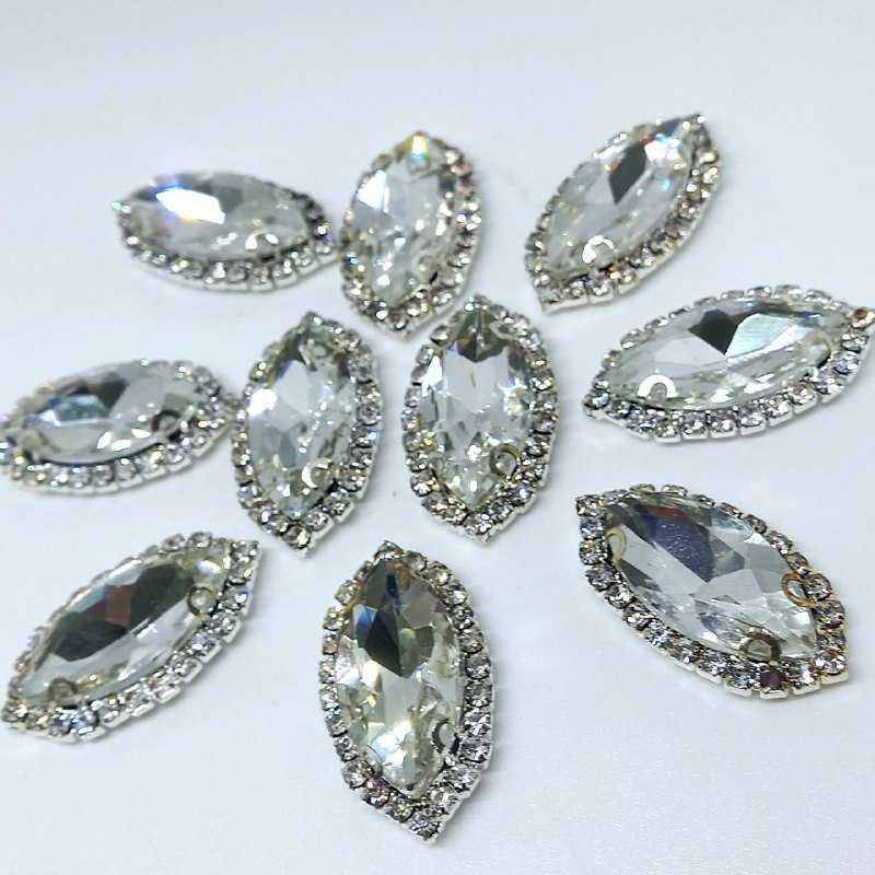 Pedra de vidro navete cristal 13x27mm / unidade