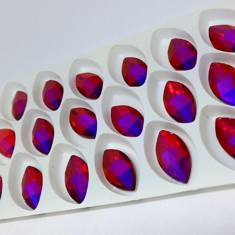 Pedra de vidro navete  Fuchsia  12x24/ unidade