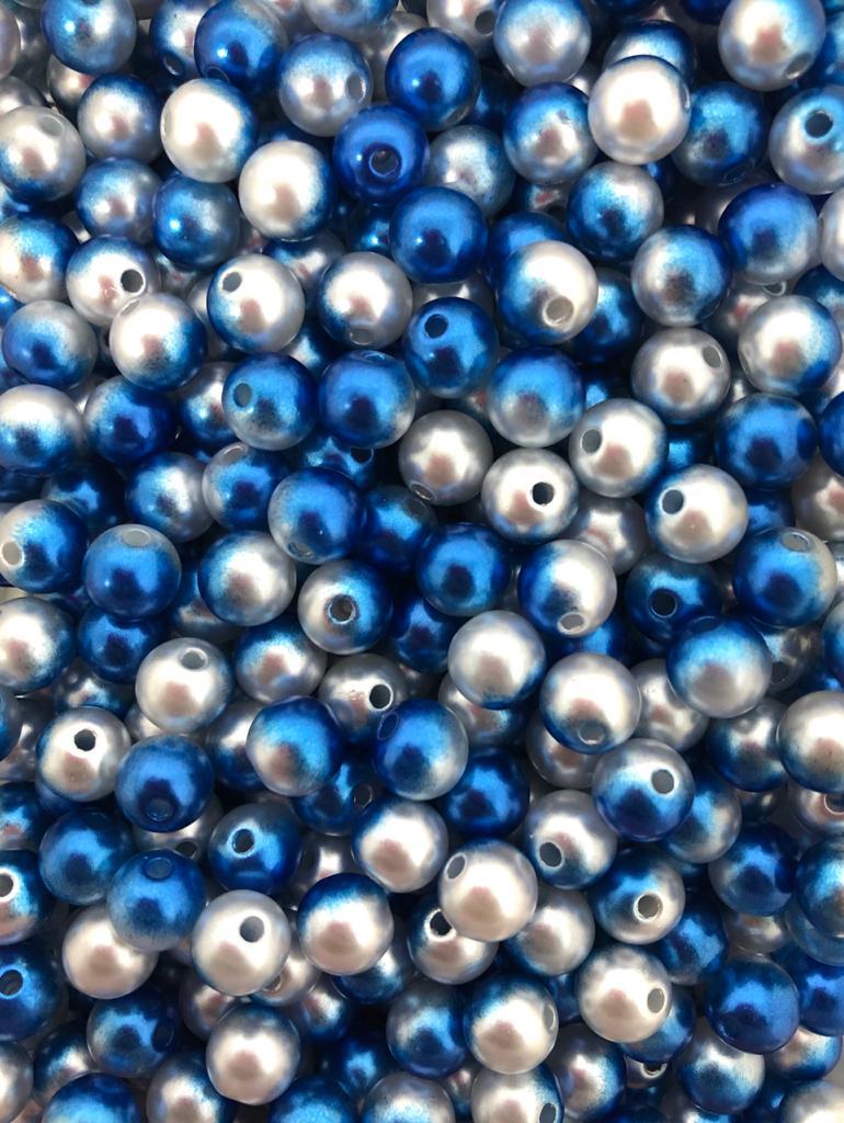 Perola azul com branco 8mm - 25g