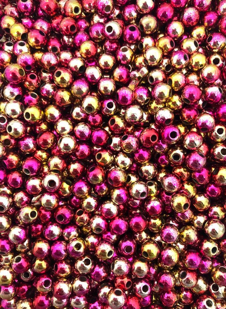 Perola rosa, dourado e amarelo 6mm - 25g