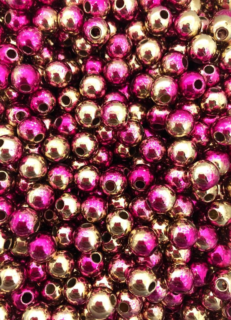 Perola rosa e dourado 8mm - 25g