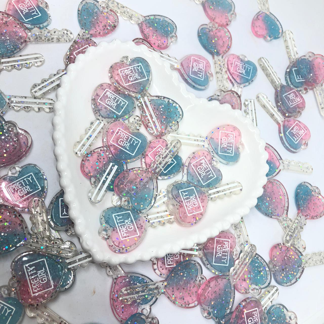 Pingente chave de corção - Azul e rosa com glitter  - Palácio Dos Cristais