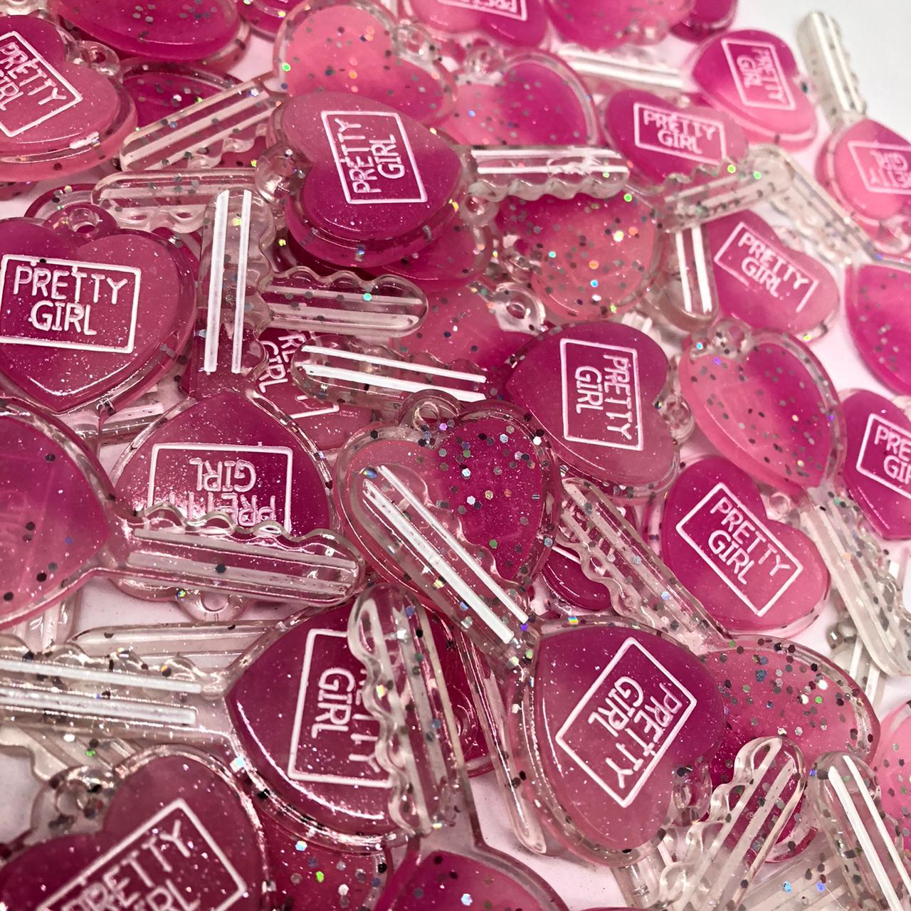 Pingente chave de corção - Rosa com glitter  - Palácio Dos Cristais