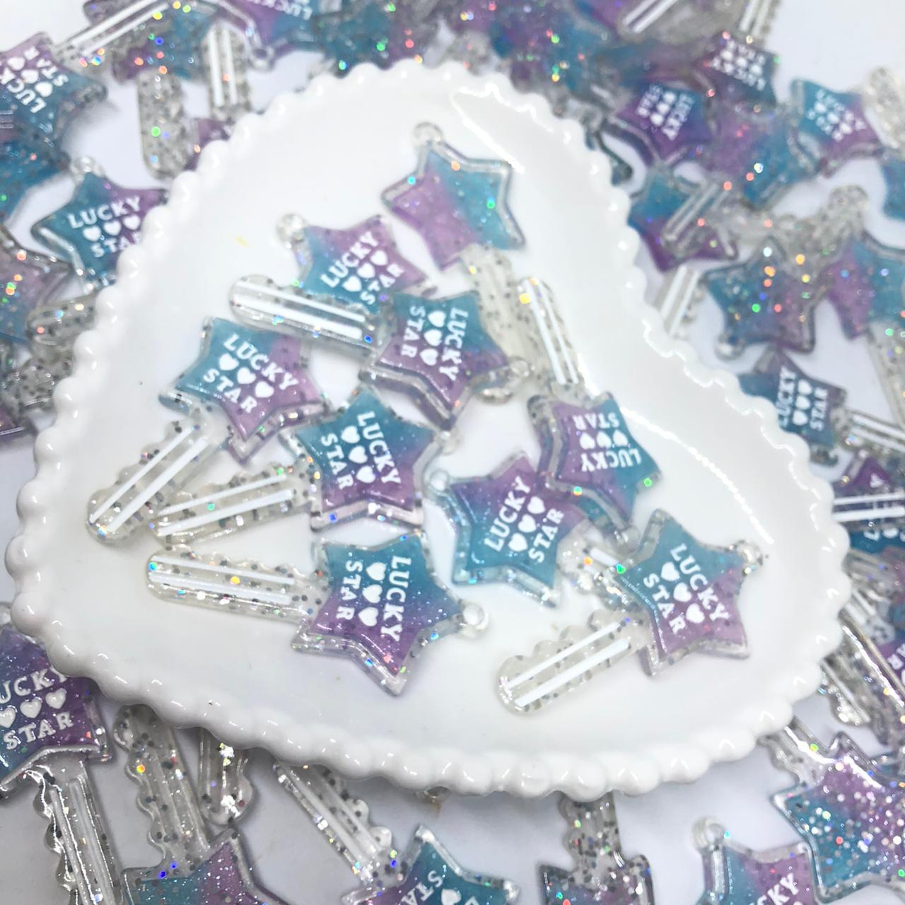 Pingente chave de estrela - Azul com lilás com glitter  - Palácio Dos Cristais