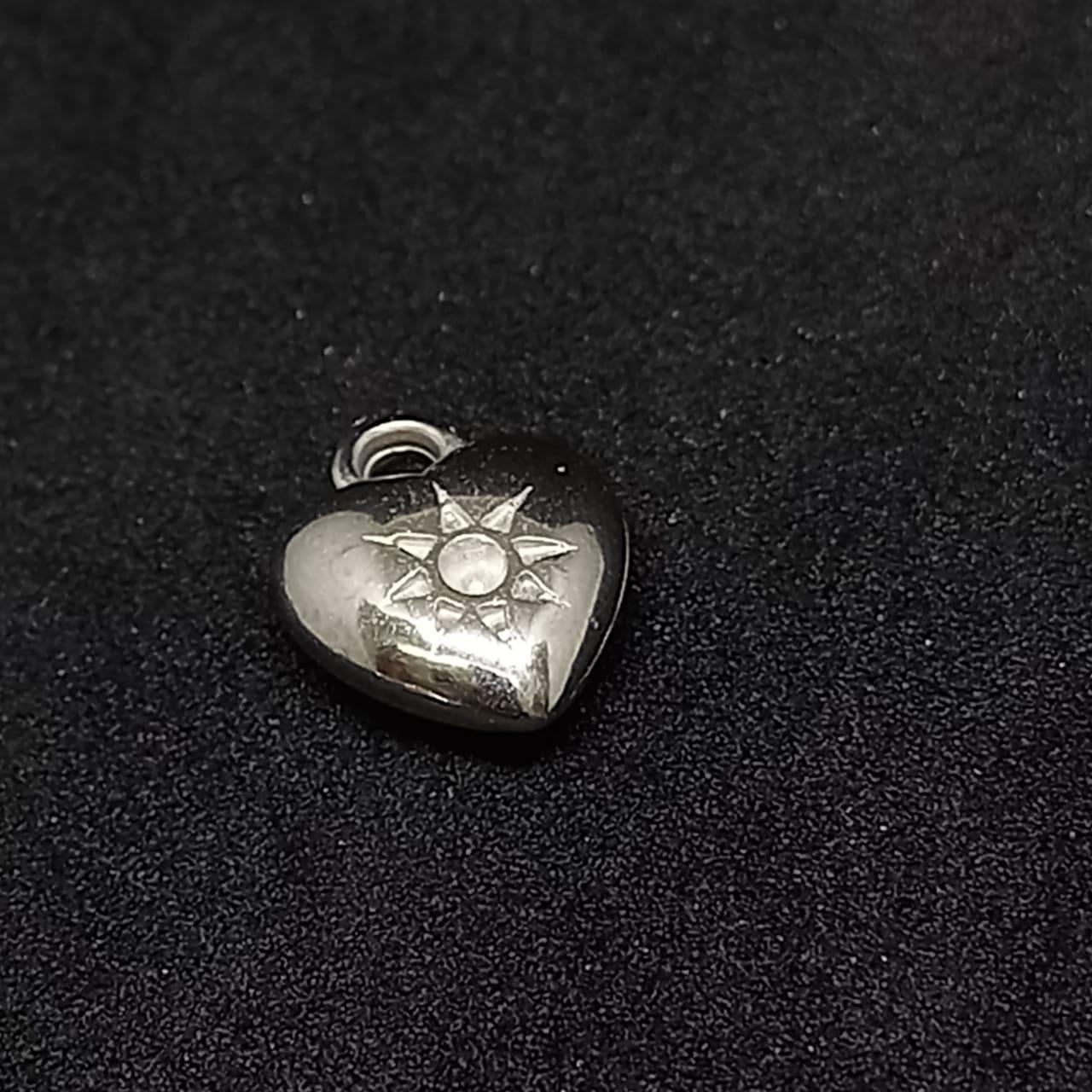 Pingente coração c/ sol  ABS prata 14x12mm 25g