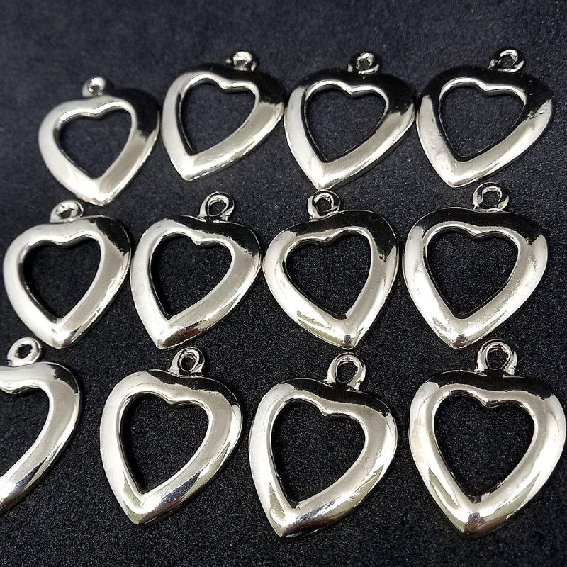 Pingente coração prata P 27x20 /unidade