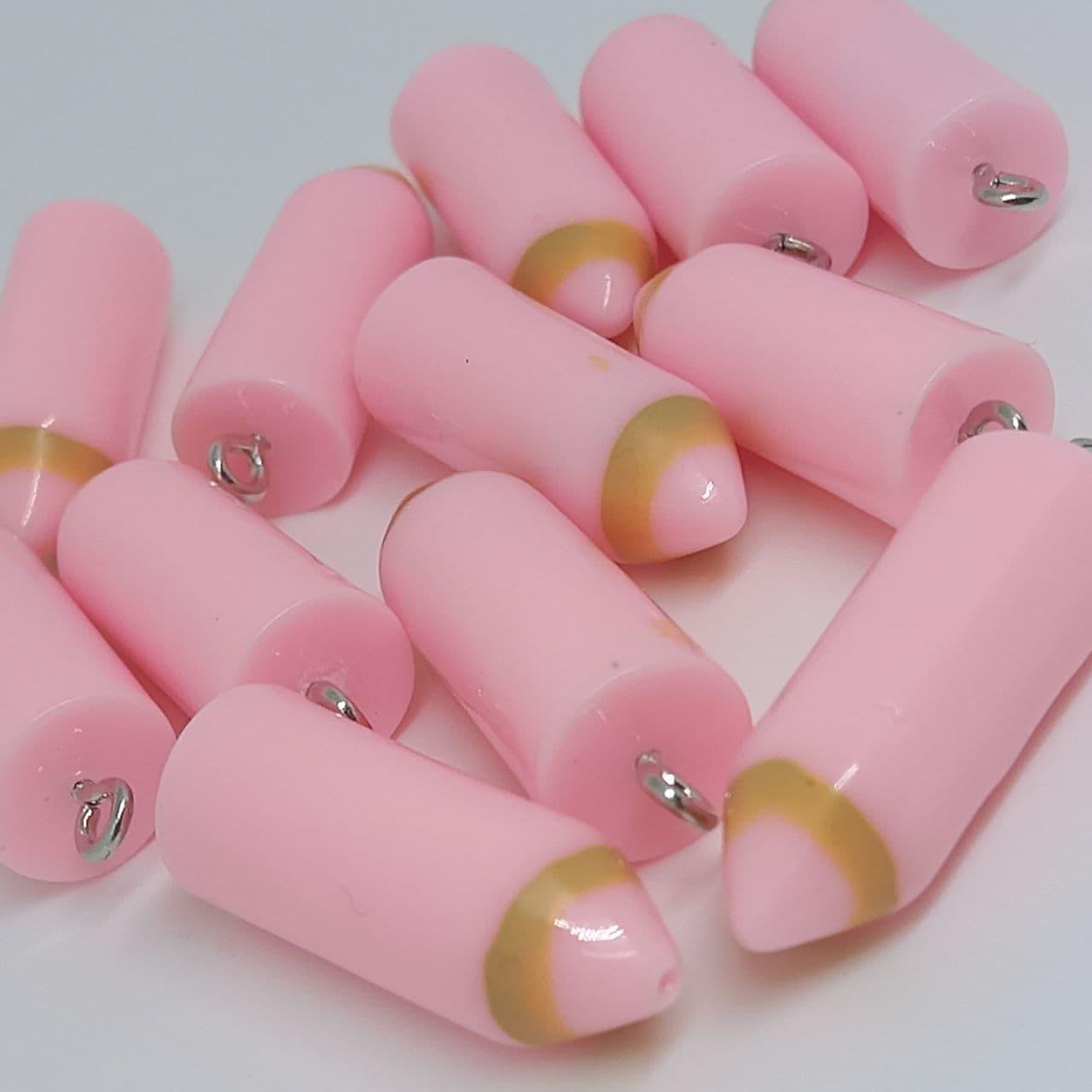 Pingente lápis de cor rosa bebe 28mm/unidade