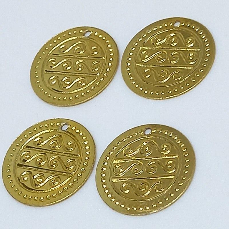 Pingente moeda cigana pequena dourada 20mm /10 unidades