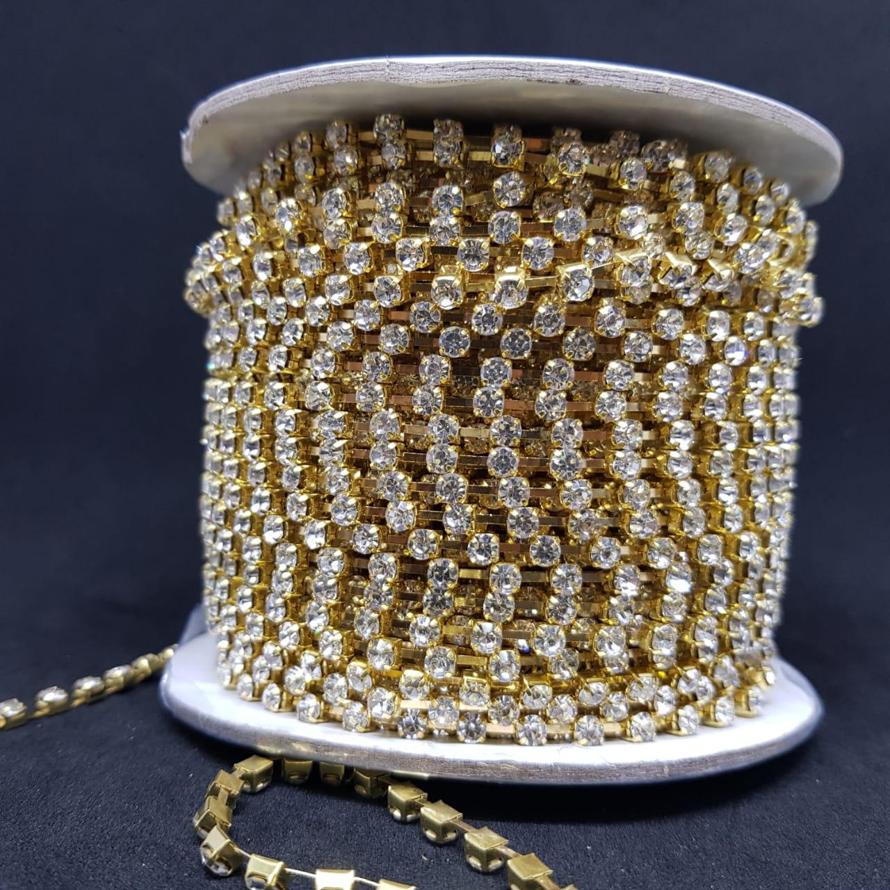 Rolo de strass cristal 50 metros pl32 Dourado