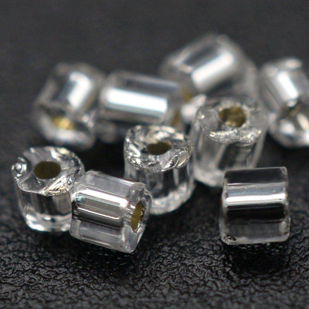 Vidrilho Preciosa Cristal Prata Transparente 2x9/0=2,6mm