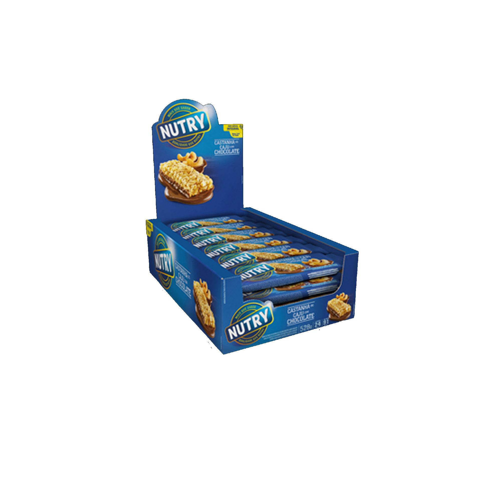 BARRA CEREAL CAIXA Castanha de Caju com Chocolate COM 24 UNIDADES NUTRY