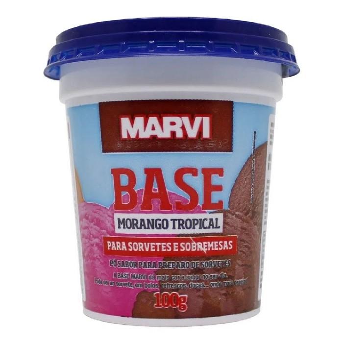 BASE PARA SORVETE SABOR MORANGO 100G MARVI