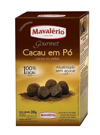 CACAU EM PÓ ALCALINIZADO GOURMET  100% 200G MAVALÉRIO