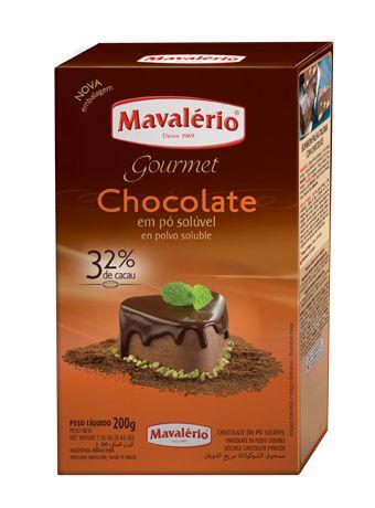 CHOCOLATE EM PÓ SOLÚVEL 32% 200G MAVALÉRIO