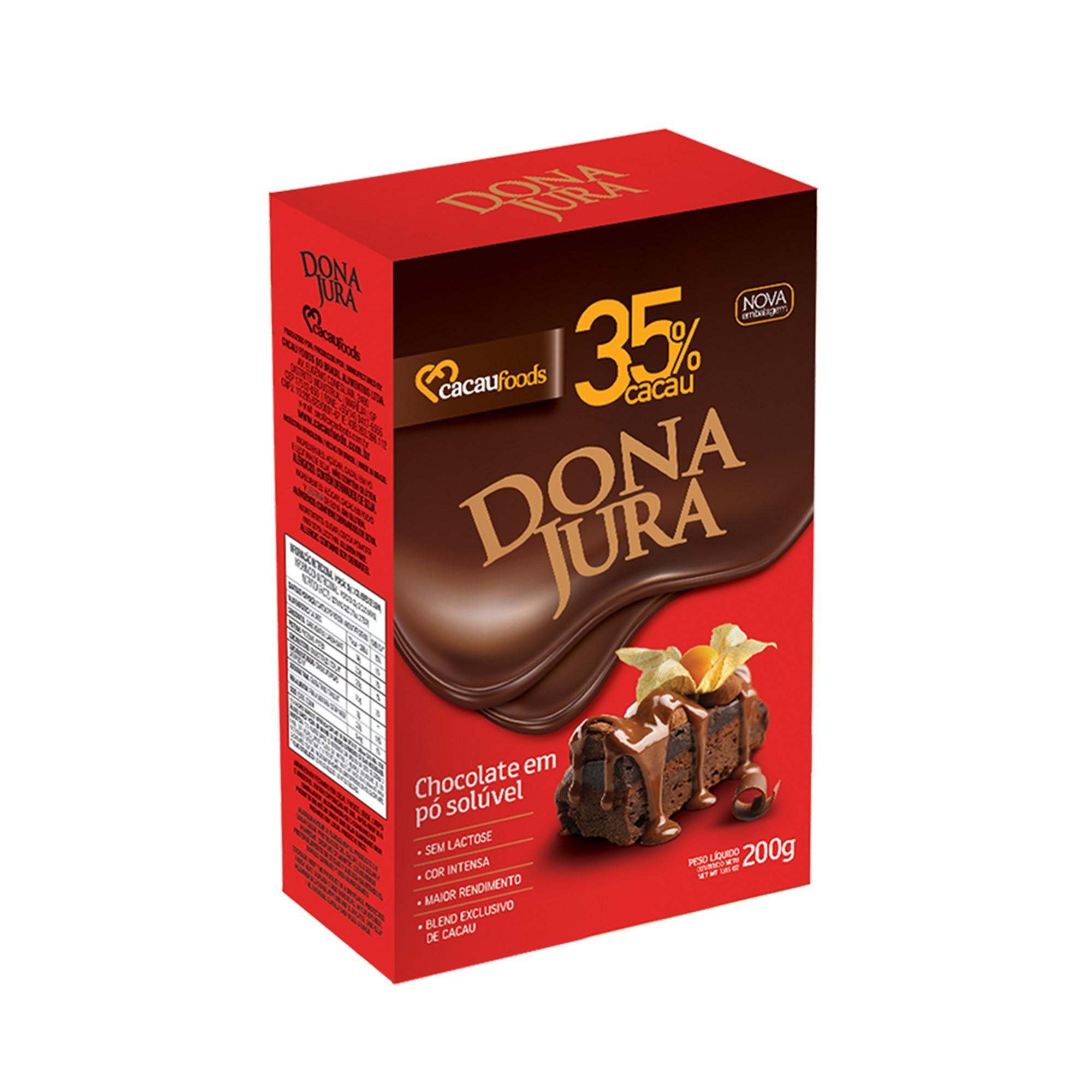 CHOCOLATE EM PÓ SOLÚVEL 35% CACAU 200G DONA JURA CACAU FOODS