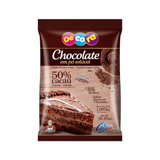 CHOCOLATE EM PÓ SOLÚVEL 50% CACAU 1,005KG DECORA CACAU FOODS